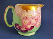 Large Gray's Pottery Art Deco Pink and Green Floral Jug c1932
